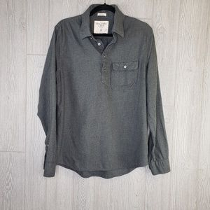 Abercrombie & Fitch Muscle Button Down Grey Shirt